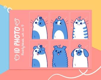 A6 sticker sheet ID Photo - cute cat and dog stickersheet - dog stickers - cat stickers - cute journal stationery - bujo stickersheet