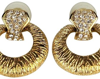 Vintage Bold Antiqued Brass Door Knocker Earrings Make a Statement ? 70/'s - Steampunk