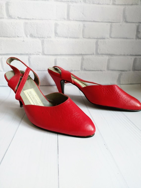 Vintage red shoes, Soviet women shoes, Red summer