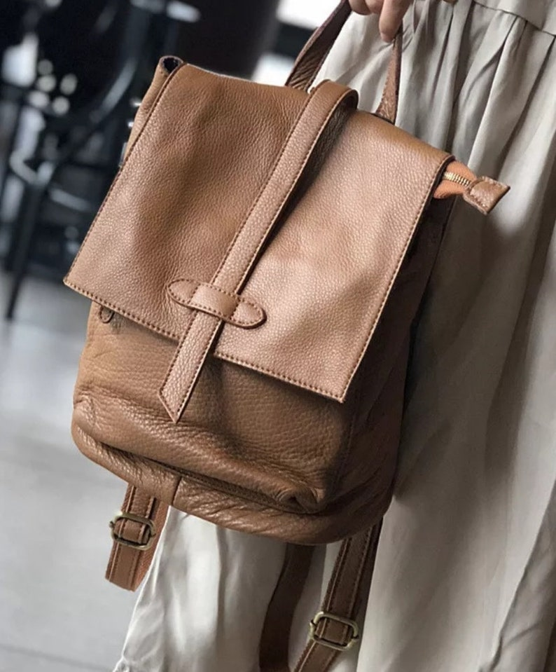 brown leather backpack leather backpack with a handle.Black leather backpack bag made of genuine leather gift Leather backpack