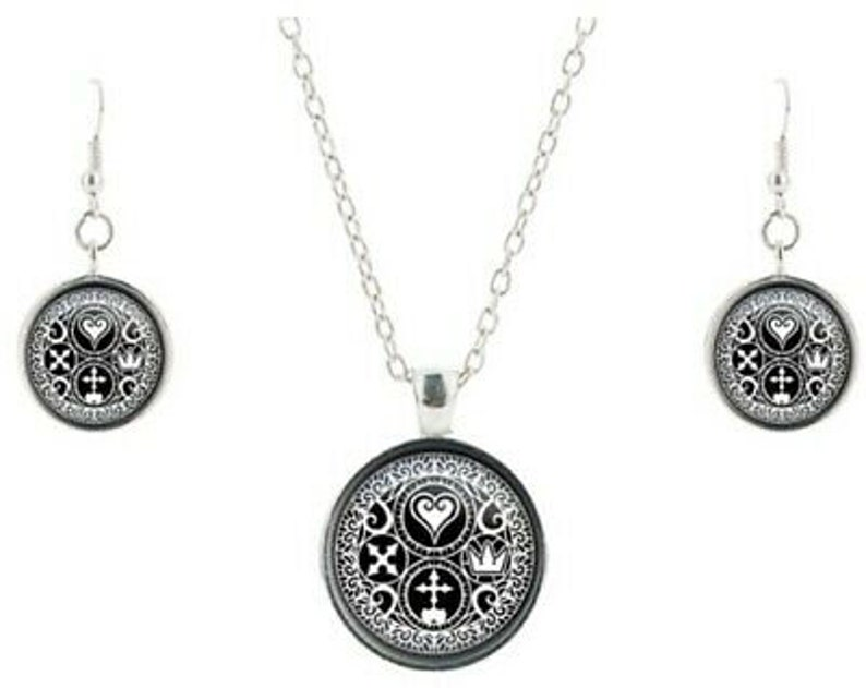 Kingdom Hearts Symbols Glass Dome Pendant Necklace and Earrings