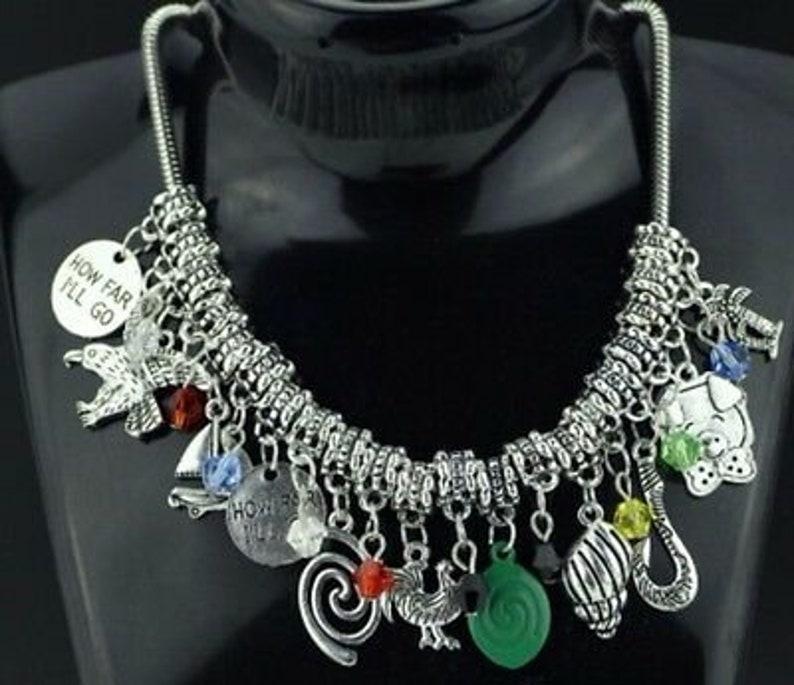 Moana Princess 11 Themed Charms Silvertone Charm Necklace