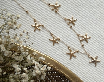 Silver necklace with starfish