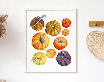 Watercolor Wall Decor, Pumpkins Printable, Halloween Printable Wall Art, Fall Printable Wall Art, Harvest Home Decor, Thanksgiving Print