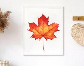 Maple Leaf Printable, Maple Leaf Wall Art, Halloween Printable Wall Art, Fall Printable Wall Art, Harvest Wall Decor, Thanksgiving Print