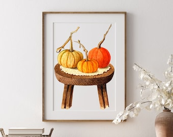 Watercolor Pumpkin, Halloween Printable Wall Art, Farmhouse Pumpkin Decor, Fall Printable Wall Art, Pumpkins Printable, Fall Wall Décor