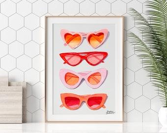 Heart Sunglasses Printable, Fashion Girl Instant Download, Modern Minimalist Art Print, Coastal Wall Decor, Cute Girly Drawing, Red Pop Art