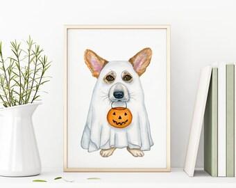 Ghost Printable, Halloween Printable Wall Art, Corgi Printable, Fall Printable Wall Art, Pumpkins Wall Art, Thanksgiving Art, Fall Décor