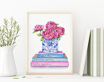 Peonies Printable, Books Print, Flowers Instant Download, Chinoiserie Wall Art, Modern Minimalist, Pink Wall Decor, Cute Girly Drawing