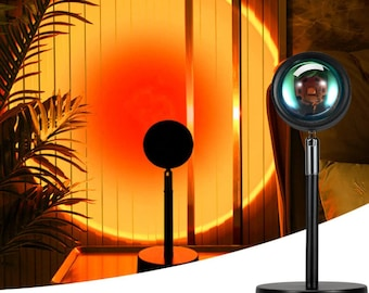 Sunset & Rainbow Projection  Lamp. 180 Degree Rotation Led Projector Night Light with USB Modern Floor Stand Living Room Bedroom Décor