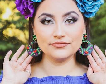 Floral Mexican Earrings, Red Rose Mexican Earrings, Statement Earrings, Frida Kahlo Earrings, Day of the Dead Earrings, Flamenco Earrings
