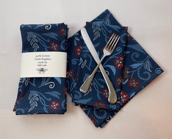 100% Cotton Floral Print Cloth Dinner Napkins, Sustainable
