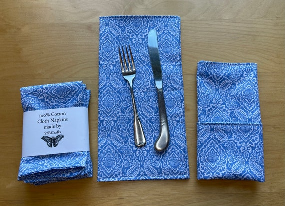 Light Blue Paisley Cotton Cloth Napkins, Luncheon or Casual Dinner, Double Sided, Zero Waste, Sustainable