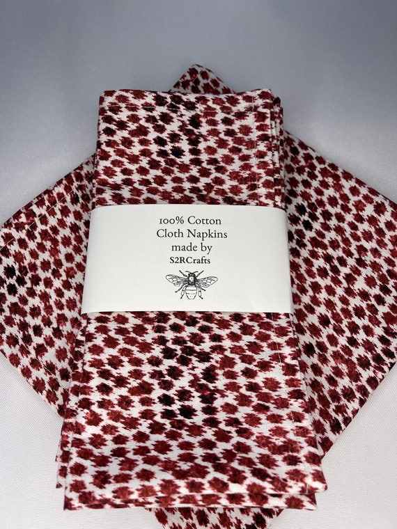Red spots on  White 100% Cotton Cloth Dinner Napkins, Sustainable