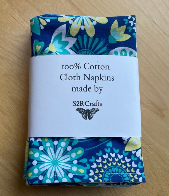 Spring Blue Cotton Cloth Napkins, Luncheon or Casual Dinner, Double Sided, Zero Waste, Sustainable