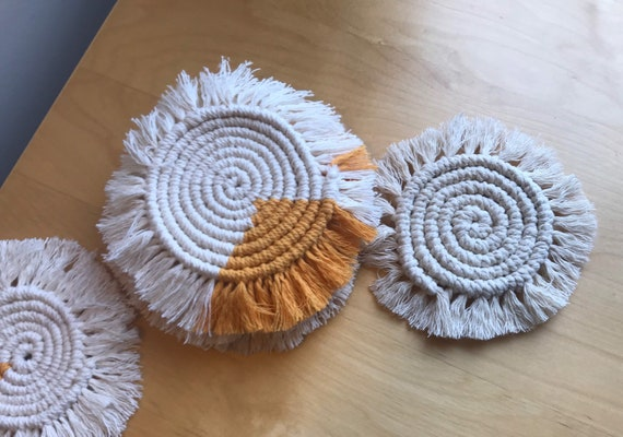 Macrame Round Coasters, Natural Cotton Home Decor, Gifts for Wedding, Bridal, Housewarming & Birthday
