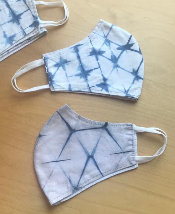 Shibori Design Face Mask, Tie-Dye Pattern Cotton Covering