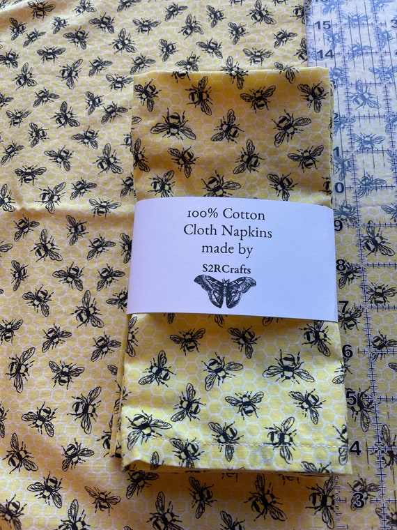 Cotton Cloth Dinner Napkins, Bees on yellow, Zero Waste, Sustainable