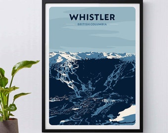 Whistler Print, Blackcomb Poster, British Columbia, Canada, Ski Poster, Snowboarding, Skiing, Ski Gift, Mountains