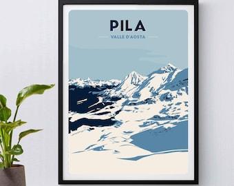 Breuil-Cervinia Italy Aosta Valley Vintage World Travel Art Poster Print Giclee