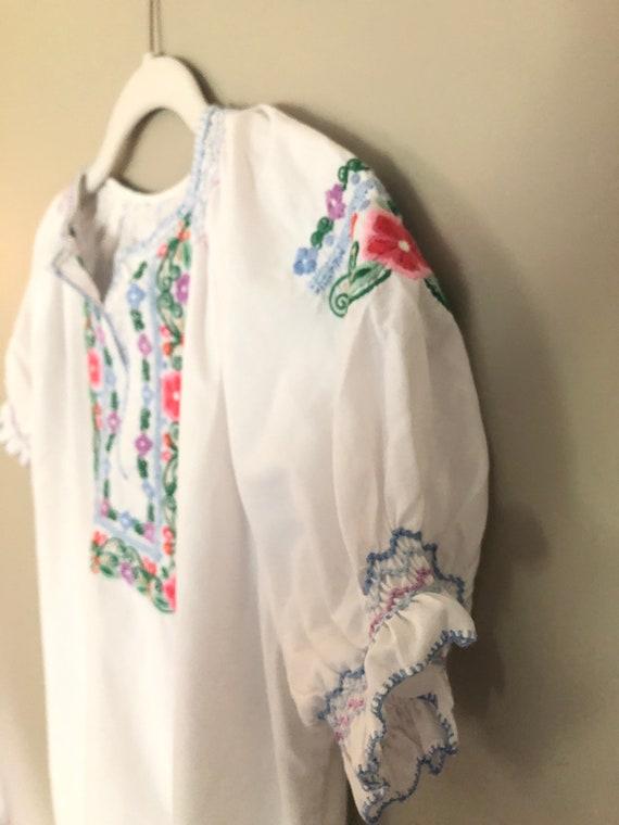 Cottage core embroidered 70s blouse - antique blo… - image 1