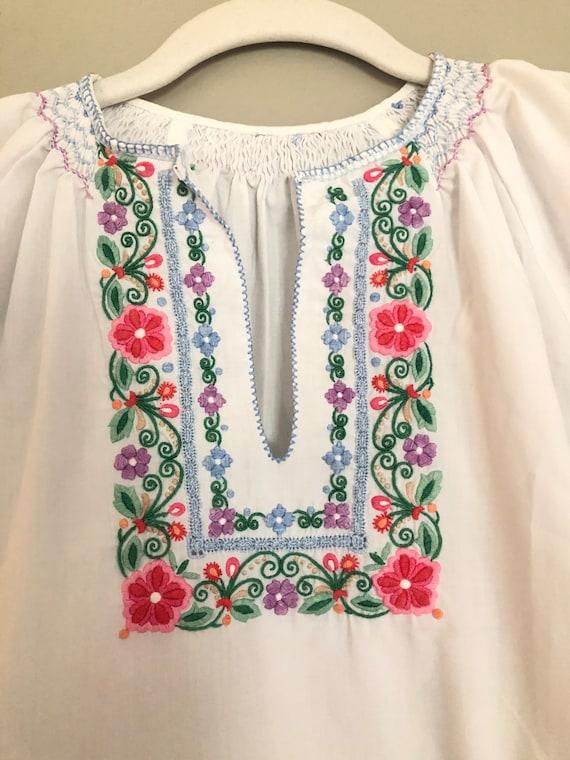 Cottage core embroidered 70s blouse - antique blo… - image 3