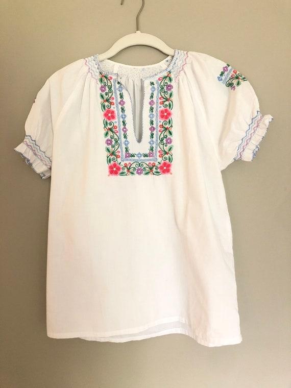 Cottage core embroidered 70s blouse - antique blo… - image 2