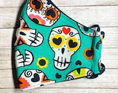 Day of the Dead Teal Sugar Skull Face Mask - Dia de Los Muertos Face Mask - Teal Skull Mask