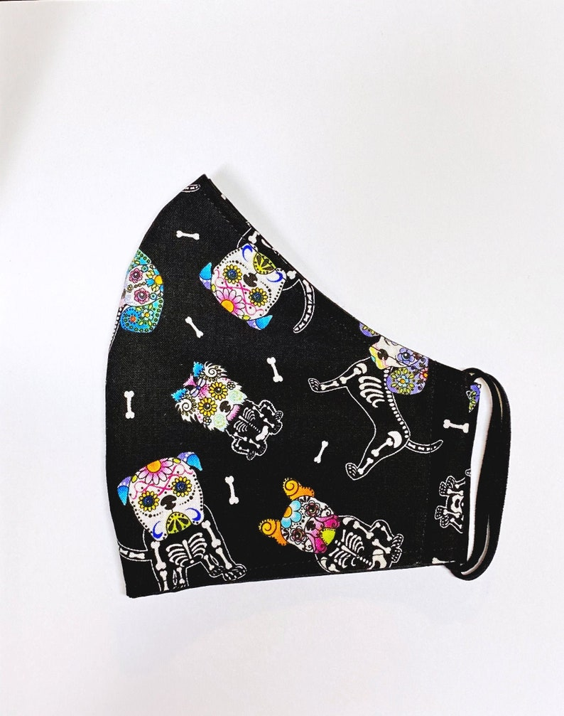 Sugar Skull Dog Puppy Day of the Dead Handmade Cotton Face image 0