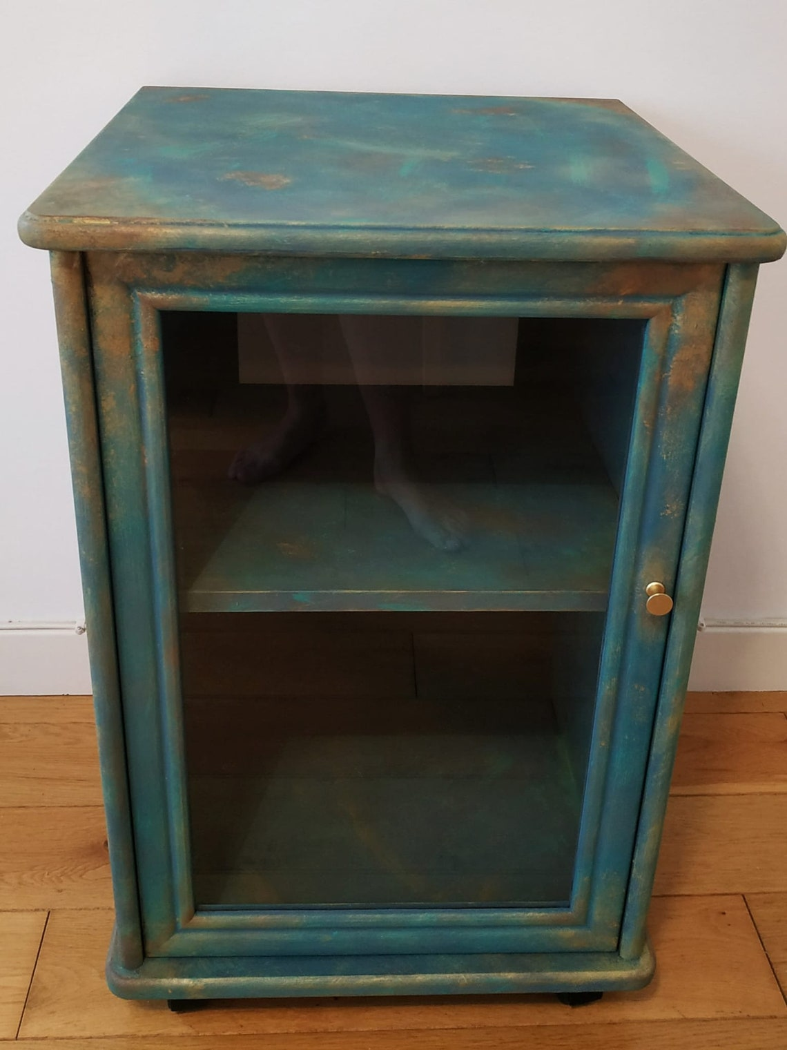 Handmade painted display cabinet, rusty effect.