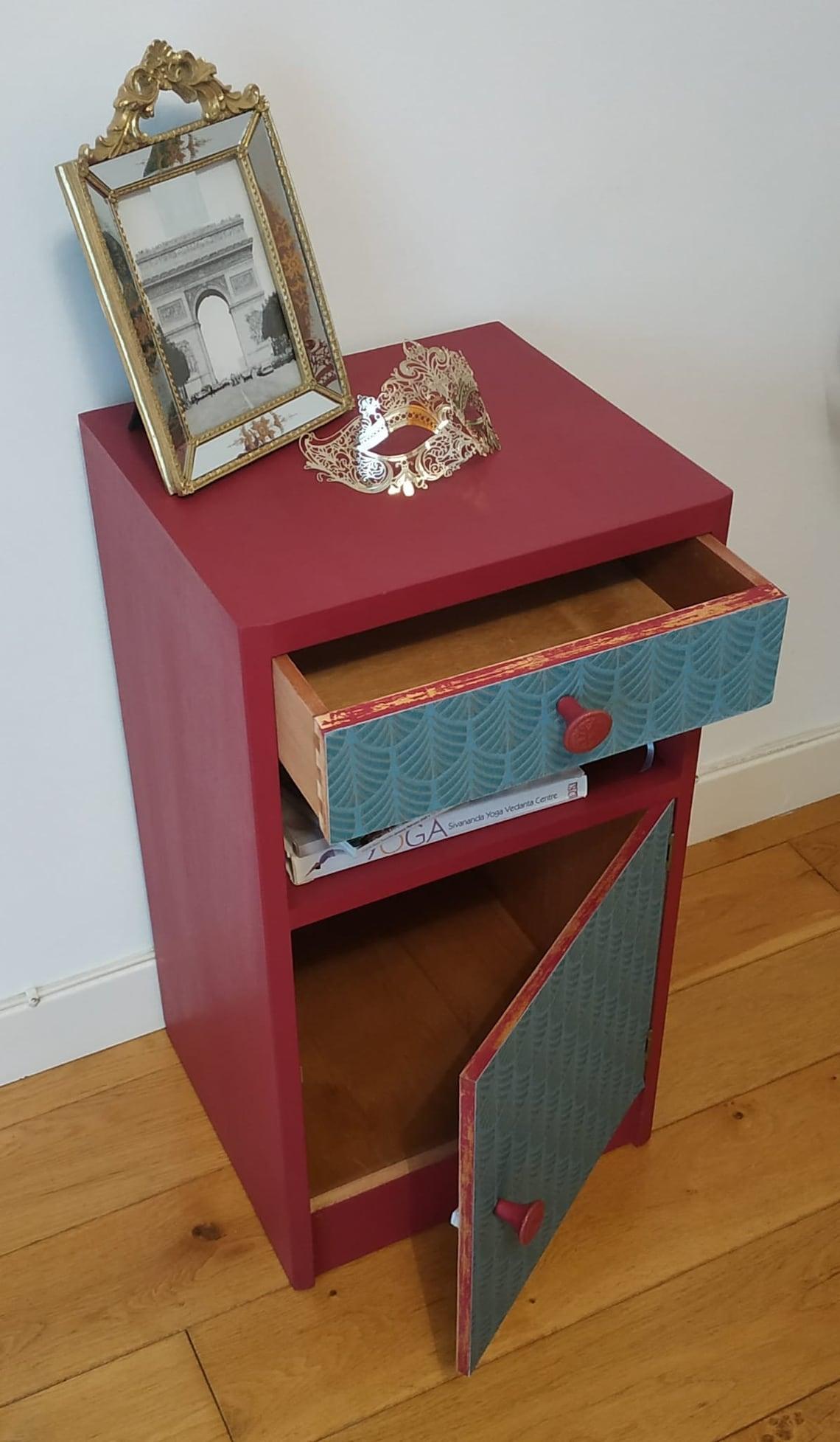 Original Herber E.Gibbs upcycled bedside table 1960s