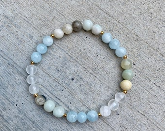 Amazonite, Aquamarine, and Selenite Crystal Bracelet, Natural Healing Stones, Amazonite Crystal Bracelet