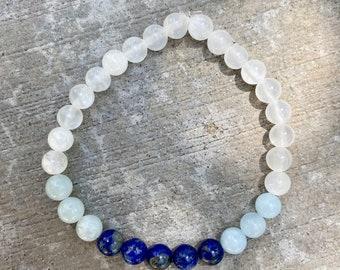 Lapis Lazuli, Aquamarine, Selenite Crystal Bracelet, Metaphysical Crystals, Healing Stones and Crystals, Lapis Stone, Aquamarine Jewelry