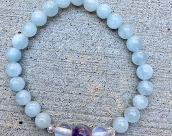Amethyst, Moonstone, and Aquamarine Healing Crystal Bracelet, Handmade Jewelry, Metaphysical Crystals, Gemstone Healing Bracelet