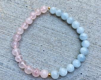 Aquamarine and Rose Quartz Crystal Bracelet, Healing Crystal Bracelet, Metaphysical Crystals, Natural Aquamarine, Gemstone Bracelet