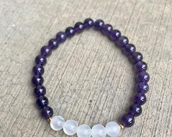 Amethyst and Selenite Crystal Bracelet, Natural Amethyst and Selenite stone, Healing Crystal Bracelet, Selenite Jewelry