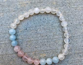 Rose Quartz, Aquamarine, and Selenite Crystal Healing Bracelet, Natural Crystal Beaded Bracelet, Handmade Gemstone Bracelet, Healing Crystal