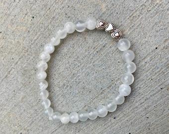 Selenite and Silver Heart Charm Bracelet, Selenite Healing Crystal Jewelry, Selenite Metaphysical Crystals