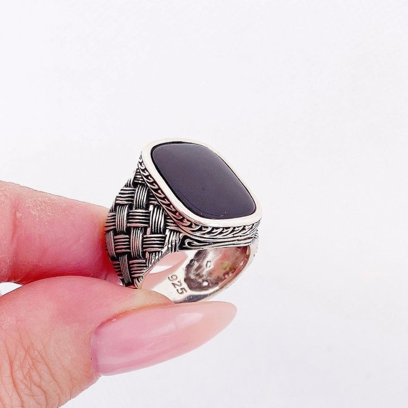 Gift for Him Mens Square Black Onxy Gemstone Sterling Silver Ring Ottoman Style Bague Homme Turkish Jewelry for Men