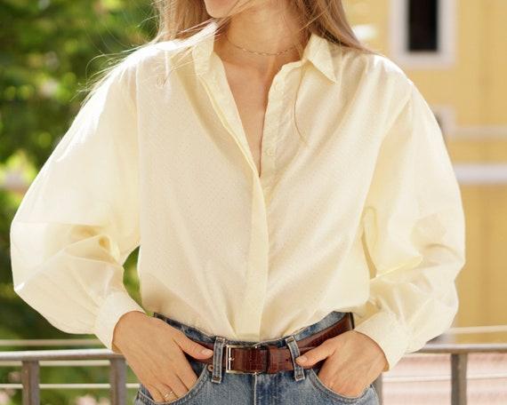 Vintage balloon sleeve cotton shirt