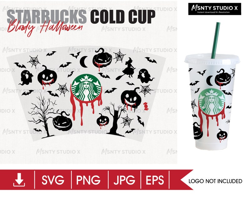 Girl/'s Custom Gift Decal Cricut Silhouette Full Wrap Starbucks Cup red blood Halloween  Cold Cup SVG DIY Venti Cup Instant Download