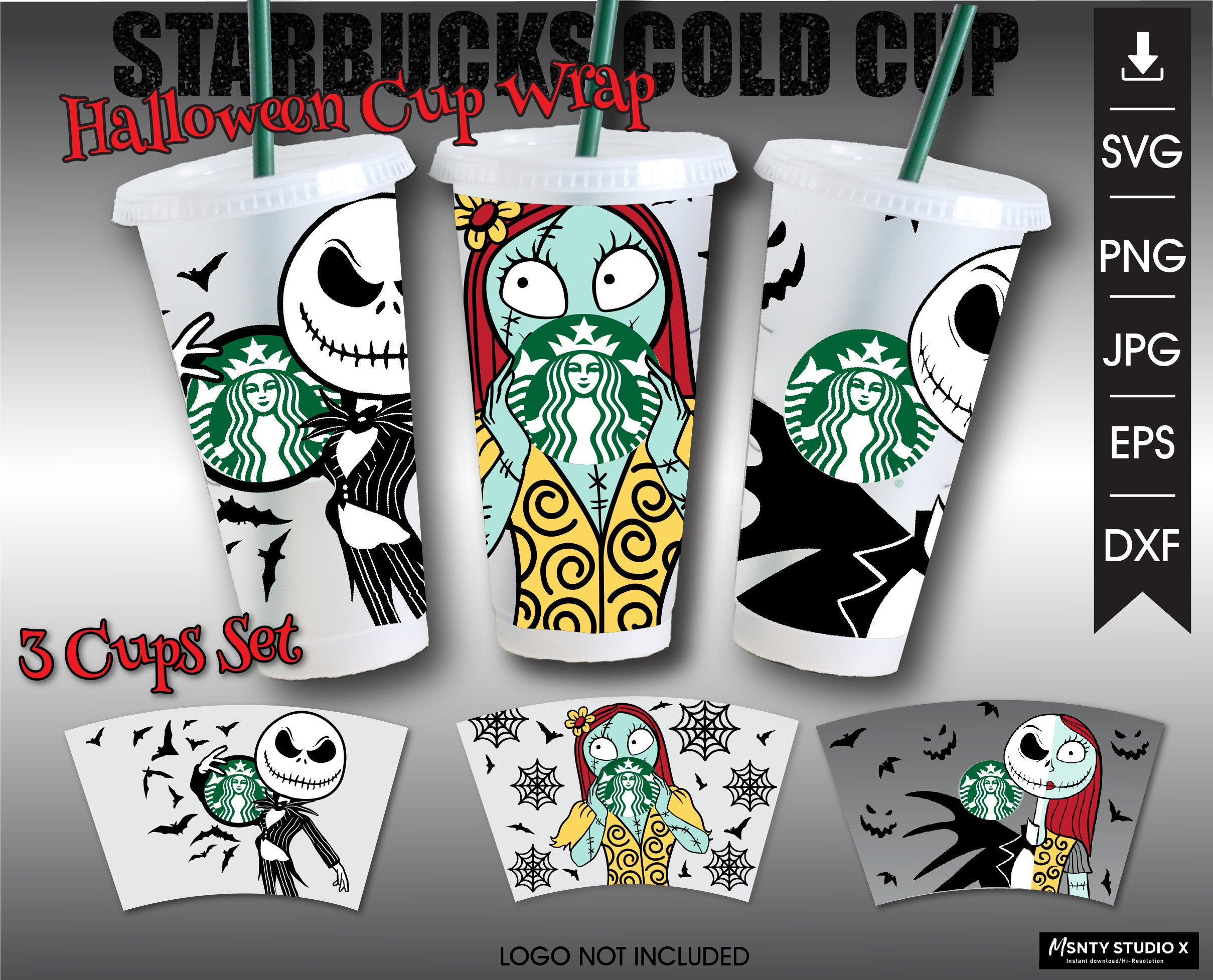 Full Wrap 3 Cups Set of Jack And Sally Starbucks Cold Cup SVG, Starbucks Venti 24 oz, Cold Cup,Halloween cup svg,Digital download Cut file