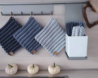 Modern Pot Flaps DesignTop Flaps Kitchen Helper CoasterS Recycled Cotton Grey Grey Oeko-Tex Standard 100