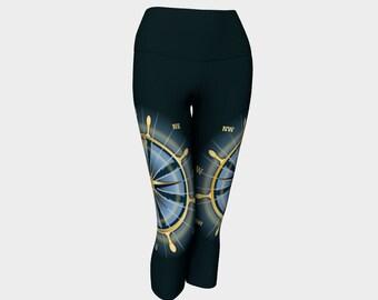 Joggers Nautical Theme Compass Rose on Thigh Swirl Pattern Overall Sweatpants Unisex