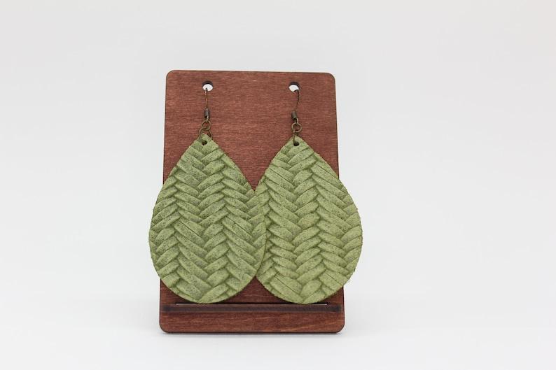 Spring Green Braid Teardrop Leather Earrings Dangling Earrings Green Earrings Boho Earrings