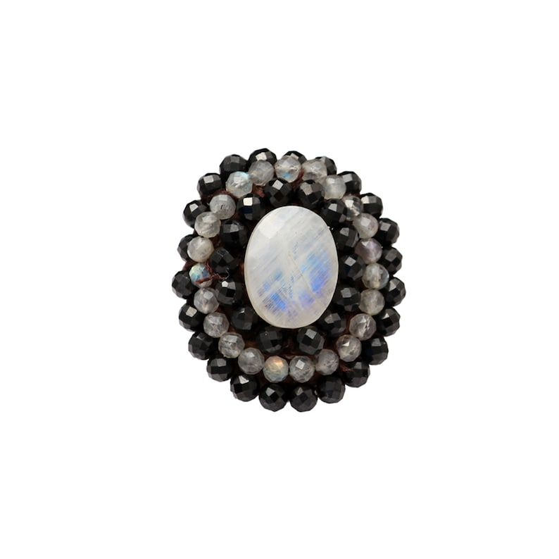 Labradorite /& Moonstone Cabochon Ring-Multi Stone ring-Big Round ring-Hand Craft ring-Ring from beads-Adjustable Ring Stitched Black Spinel