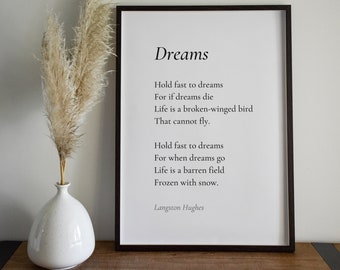 Dreams by Langston Hughes Poem Print - Poetry Print Gift, Literaty Poster, Poem Wall Art, Poem Poster, Home Decor Print | PE100