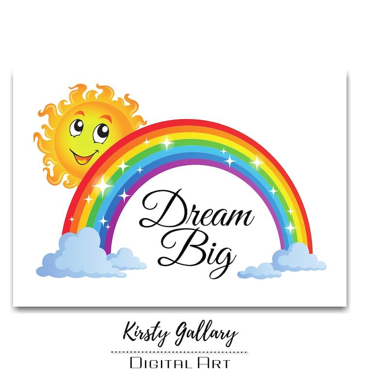 Nursery Digital Printable  Kids Wall Decor  Rainbow Printable  dream big  Rainbow  Wall Decor  printable wall decor  gifts