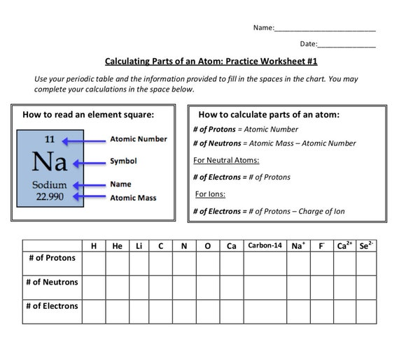 Calculating Parts Of An Atom Practice Worksheet Bundle Etsy