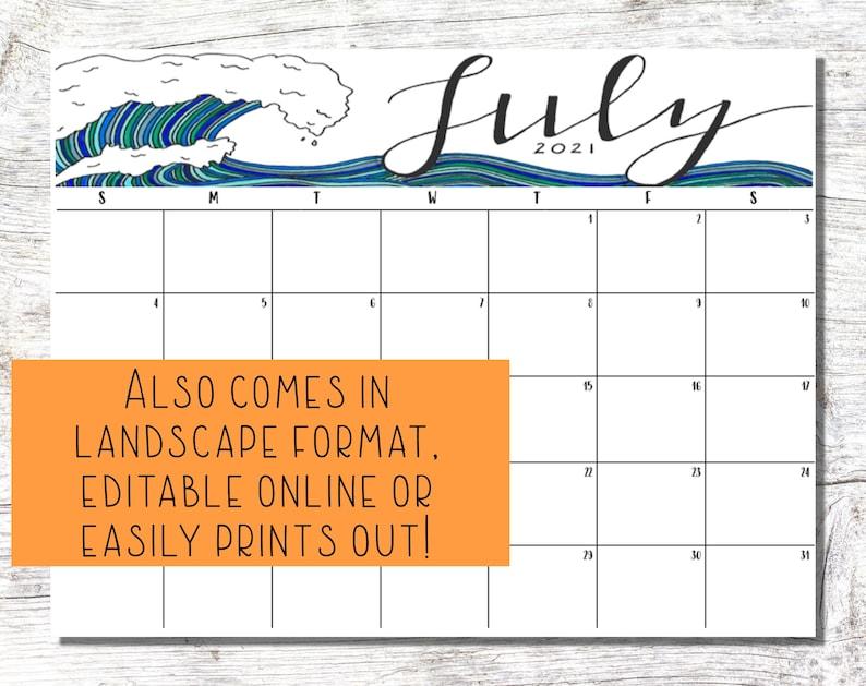 Printable Calendar 2021 Desk Calendar Printable School | Etsy